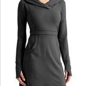 Athleta Dark Gray Hoodie Sweater Dress Size L